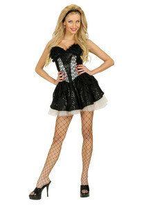 Pailletten Mini-Rock mit Spitze und Petticoat schwarz