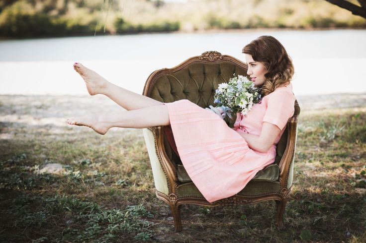 MODEL: Kate Tuttle. IG @ Misskatetuttle  Little Rascals Styled Elopement Shoot. Image by Kye Norton Photography. HMUA by The Beauty Case. Model Kate Tuttle. Vintage Fashion. PeachDress. Bouquet. Beach Location. Australian Imagery. Sweet. Green Chair. Recently Published by White Magazine.