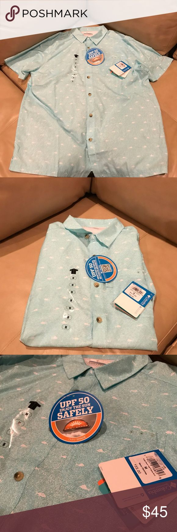 Men's Columbia PFG Shirt New with tags. Fish freely, protected from the sun with 50 UPF. Size medium. Color is baby blue greenish. Look stylish fishing! Columbia Shirts Casual Button Down Shirts