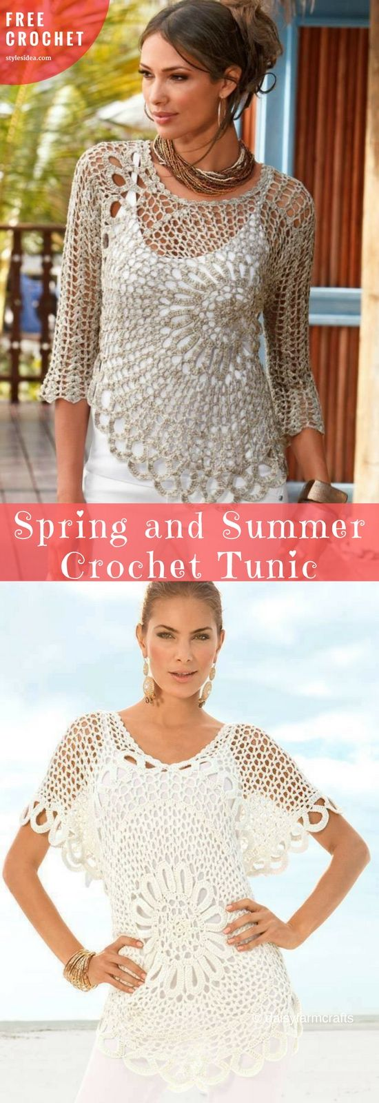 Tunics for Spring and Summer [Free Crochet] Perfect Tunics for warm seasons. Covering other clothes or simply wear it when the sun is shining and the temperature is very high. #crochettunic #crochetfreepattern