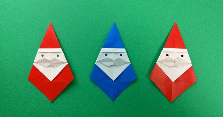 「口ひげサンタ」 創作:kamikey  二枚複合作品             口ひげつきの折り紙サンタさんって、あまり見かけない?     と思って創りました!         自作のクリスマス折り紙の中でもお気に入りです^ ^