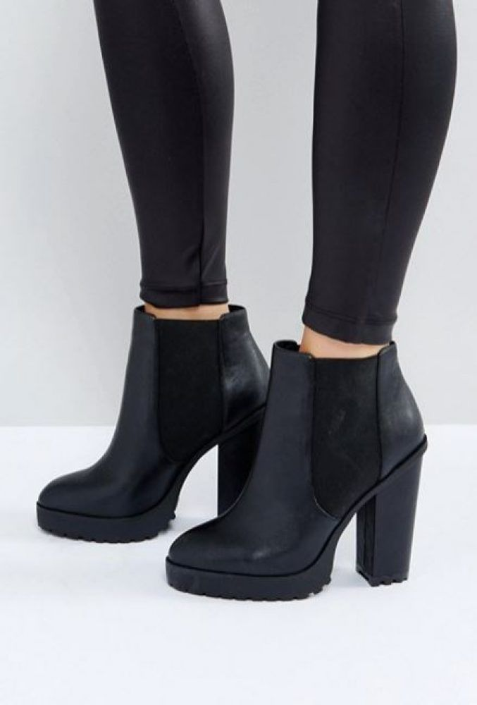 Boots, Black heeled ankle boots