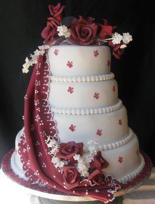 Cake worship. (Sugarcraft by Soni: Four-Tier Wedding Cake: Falling Drape with Roses)