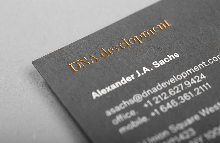 Brand identity, white and copper foil business cards for real estate investment and development business DNA development by Face