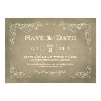 This formal wedding save the date announcement card with an aged vintage wine label style design. Rustic hand-drawn sketches of grapevine leaves frame the important details. A simple flourished monogram appears on the reverse side. Neutral tan / beige / champagne gold and ivory color scheme. #wedding #save #the #date #save #the #dates #vintage #wine #theme #vineyard #grapes #vines #label #grapevine #rustic #chic #stylish #style #antique #aged #custom #template #leather #champagne #gold ...