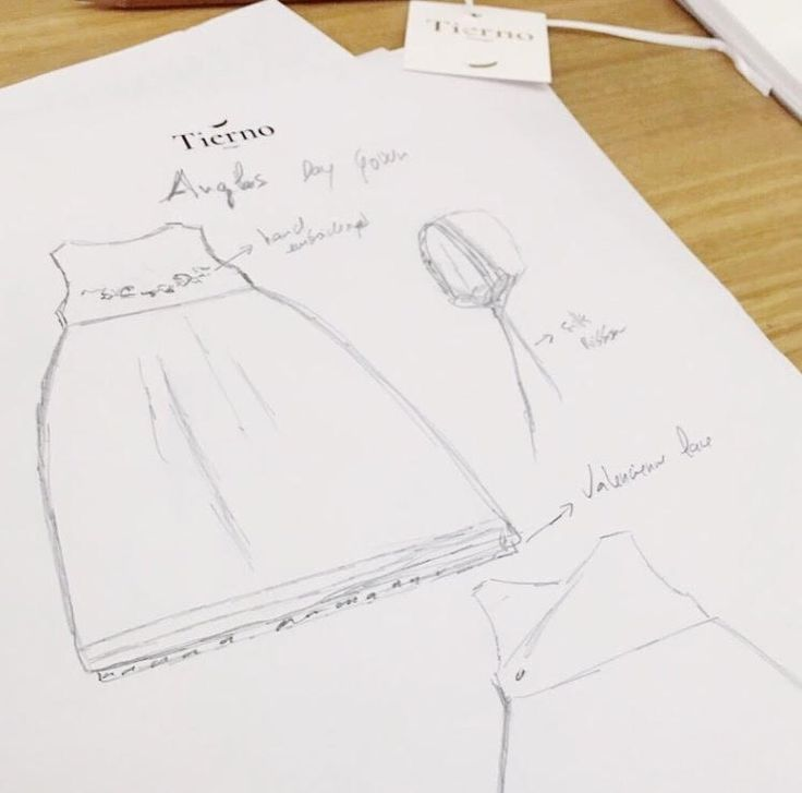 This is where it all starts: a detailed sketch drawn to offer you the most elegant and refined Baby Day Gown! Handmade and emboirdered by hand!