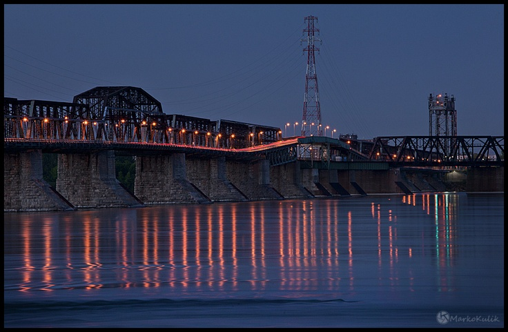 The Victoria Bridge is just one of many awesome bridges in Montreal. I took this image during the blue hour.