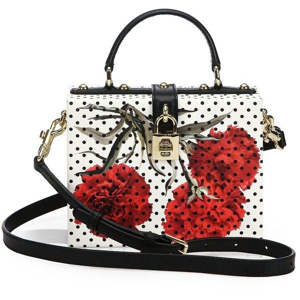 Dolce & Gabbana Polka-Dot Floral Textured-Leather Shoulder Bag (41.083.055 IDR) ❤ liked on Polyvore featuring bags, handbags, shoulder bags, purses, apparel & accessories, flower print handbags, top handle handbags, polka dot purse, floral print purse et white shoulder bag
