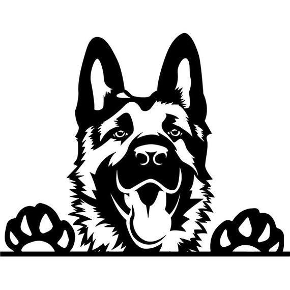 German Shepherd #109 Peeking Smiling Dog Breed K-9 Pet Police Cop Law Enforcement Pedigree Logo .SVG .PNG Clipart Vector Cricut Cut Cutting