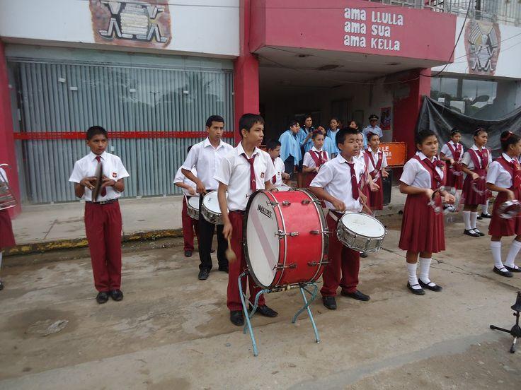 "Banda de Música de la I.E. ""Carlos Wiesse"" que acompañó al Desfile Cívico."