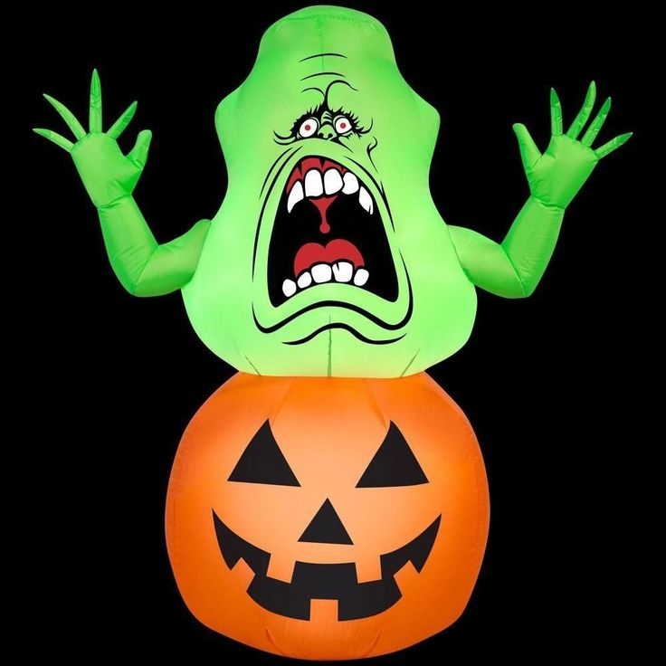 Outdoor Halloween House Decor 42 in. Inflatable Slimer on Pumpkin-Ghostbusters #OutdoorHalloweenHouseDecor