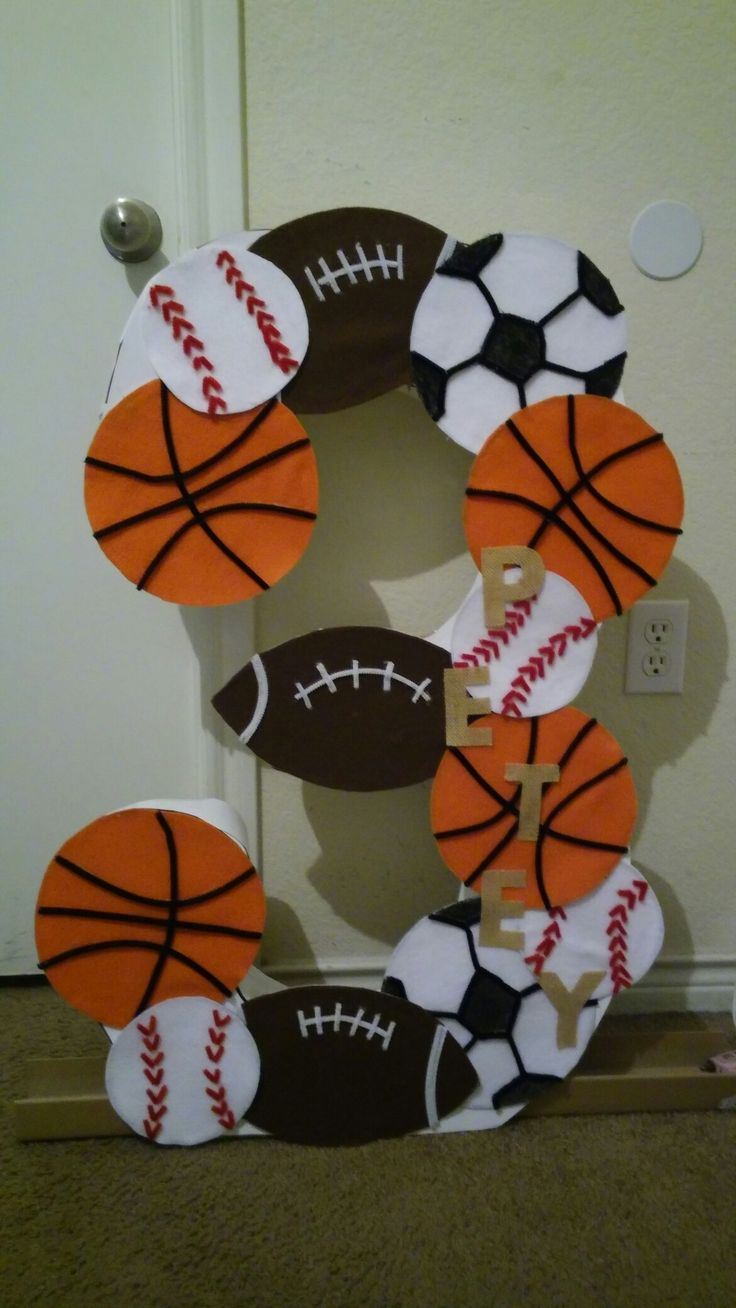 Large number 3 cut out sports themed