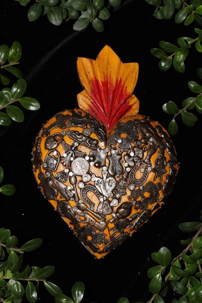 Yellow Sacred Heart Wood Milagro covered, Folk Art Michoacán Mexico, Love Token
