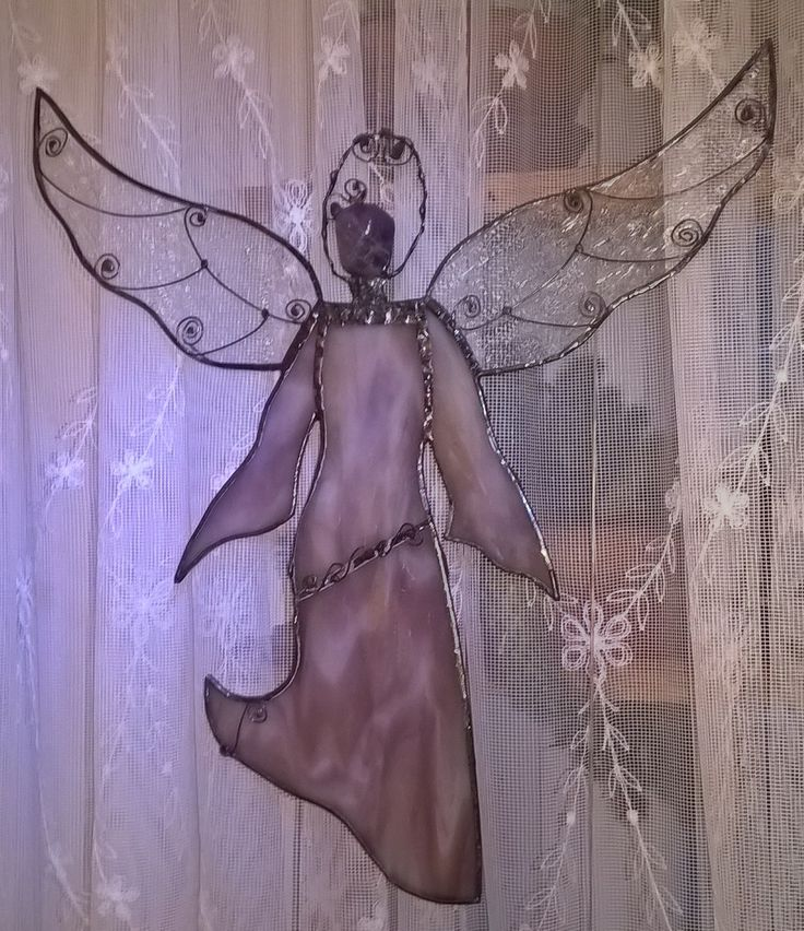 Stained glass angel with amethyst Tiffany anděl s ametystem