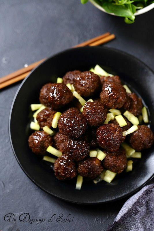 Un dejeuner de soleil: Boulettes de viande à l'asiatique (cuites au four)...