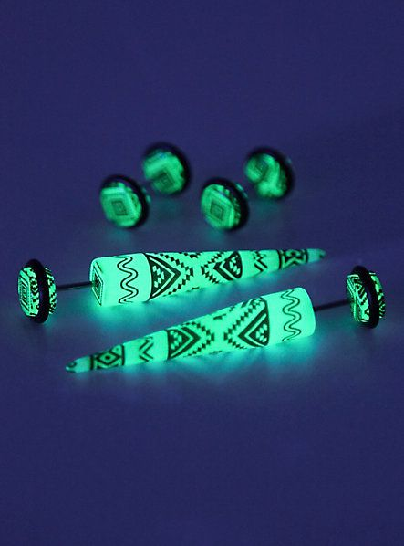 Blue & Black Aztec Glow-In-The-Dark Faux Taper And Plug 4 Pack | Hot Topic