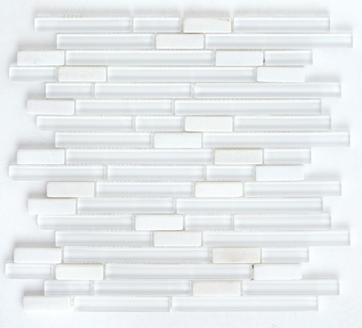 Glass and Stone Mosaic Tile Snow Blend | Mineral Tiles