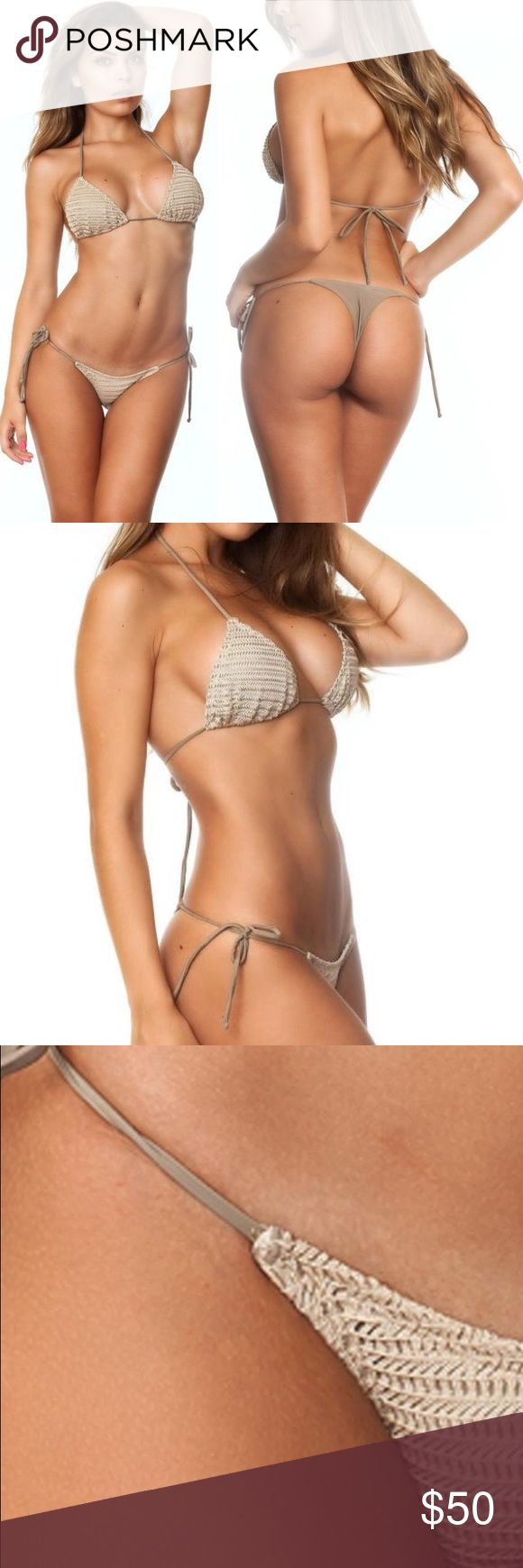 Coqueta BRAZILIAN Thong Bikini Crochet Triangle S This sexy bikini is a must have for your next resort vacation or day at the pool. Worn only once, the bikini is in perfect condition with no flaws. This is a great nude beige color that is flattering on all skin tones. True Brazilian fit so there isn't a ton of coverage. I am a 32DD and the top was smaller than I prefer so I'd recommend it for a smaller bust size, bottoms are adjustable and would best fit a 0-4.   Made in USA Triangle Top…