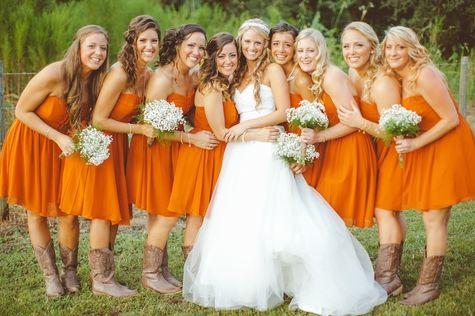 Orange bridesmaid dresses // J Photography