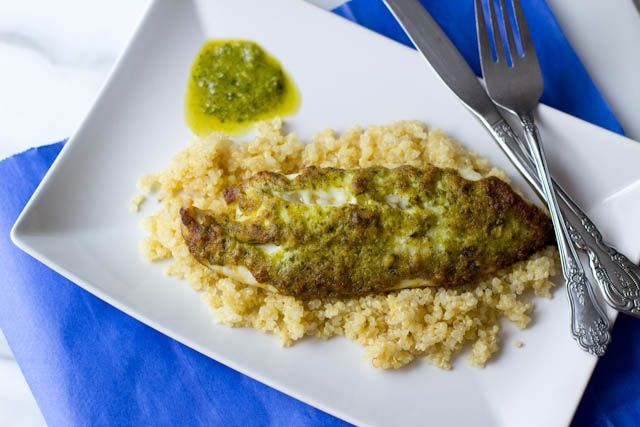 Pesto Tilapia. Really simple, only a few ingredients, and even is made for frozen fish.