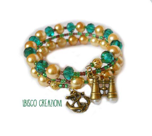 Bracciale a filo armonico con perle - Marinaio, by Ibisco Creazioni, 6,60 € su misshobby.com