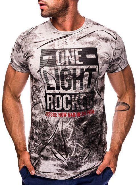 b1aec486d Pánske vzorované sivé tričko MNSS550B | PÁNSKE TRIČKÁ | Mens tops, T shirt  a Tops