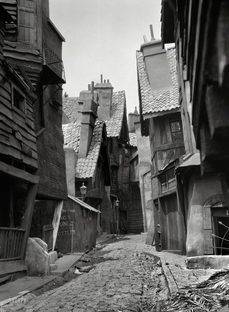 howtoseewithoutacamera:  by Arnold Genthe Unidentified buildings, possibly movie set, associated with Famous Players-Lasky. Circa 1920.