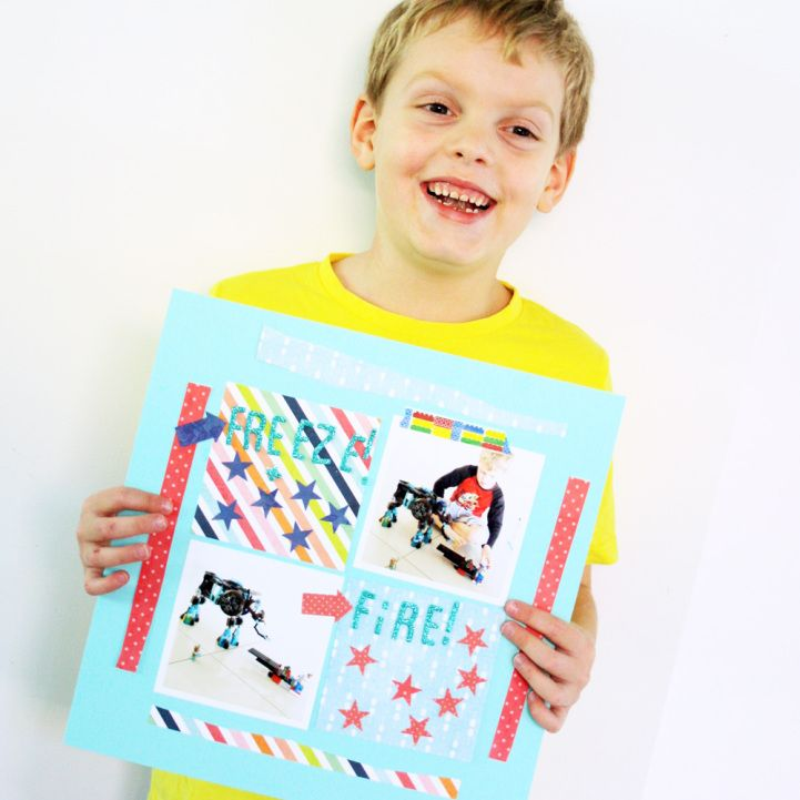 Jot Kid Larsen with his awesome Mood Board challenge layout. http://jotmagazine.com/jot-kids-july-2015/