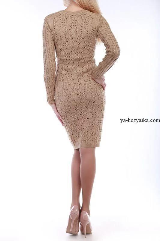 Платье спицами облагающего силуэта. Узор для платья спицами