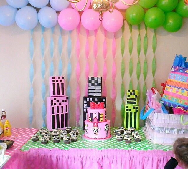 Powerpuff girls party 3rd birthday party my daughters Home decoration for birthday girl