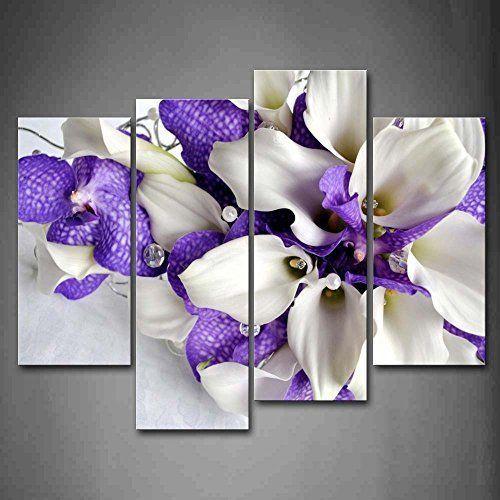 [Framed] Flowers In White Dark Purple Picture Prints Canvas Wall Art Home Decor #ArtDeco
