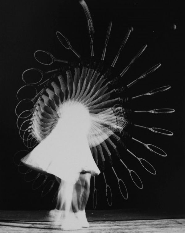 Stop-motion photography by Dr. Harold Edgerton, the inventor of the strobe-flash technique.  I love how you can depict the change in speed of the racket on its journey.