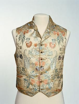 This waistcoat from the early 1840s is made of a satin-faced silk brocade, woven with a busy, all-over, multi-coloured, floral pattern, which must have been guaranteed to strike a truly dandy note.