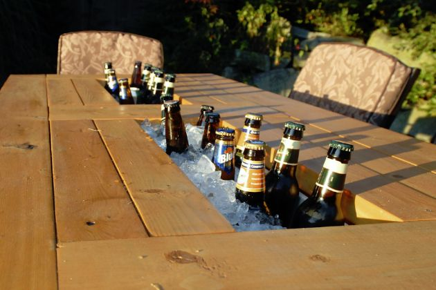 Esky Furniture - Patio table with built in beer and wine coolers