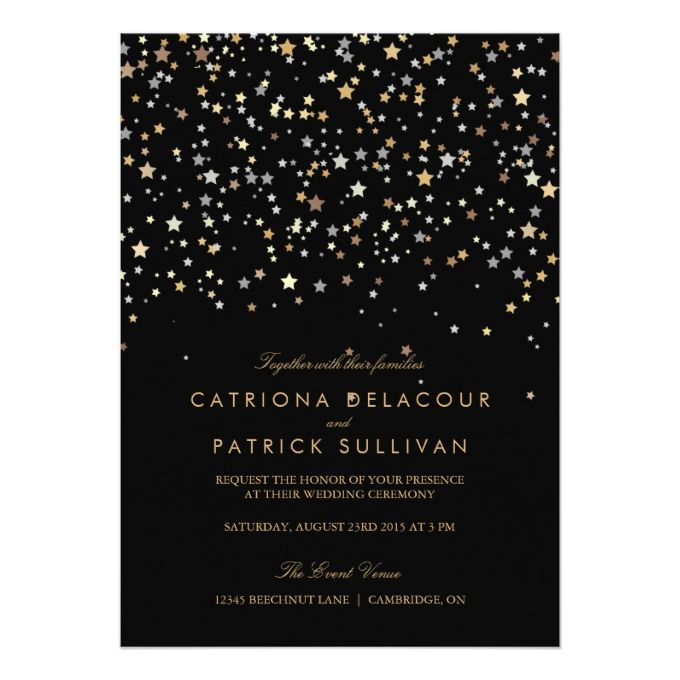 Gold Star Confetti Modern Wedding Invitation