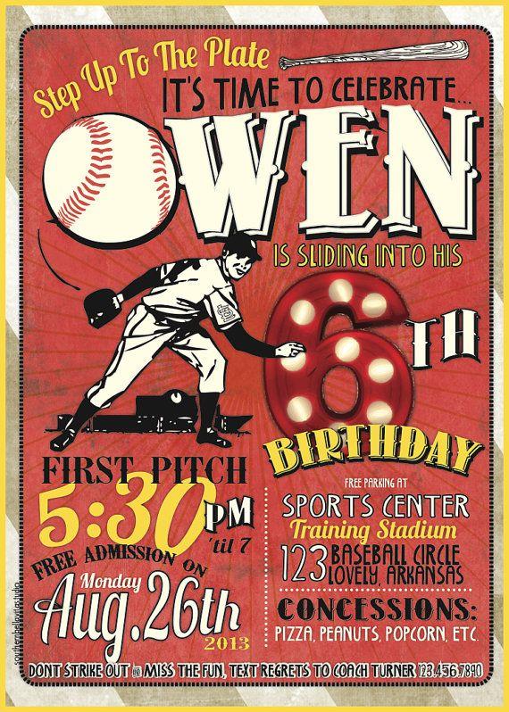The 25 best Baseball birthday invitations ideas – Baseball Themed Birthday Invitations