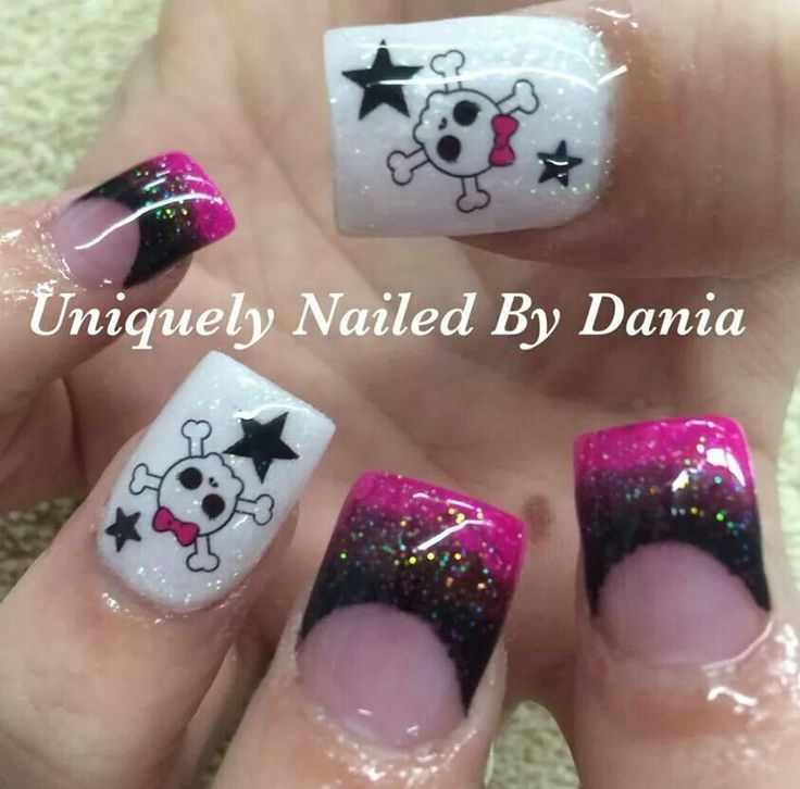 Lady skulls with pink and black acrylic nails