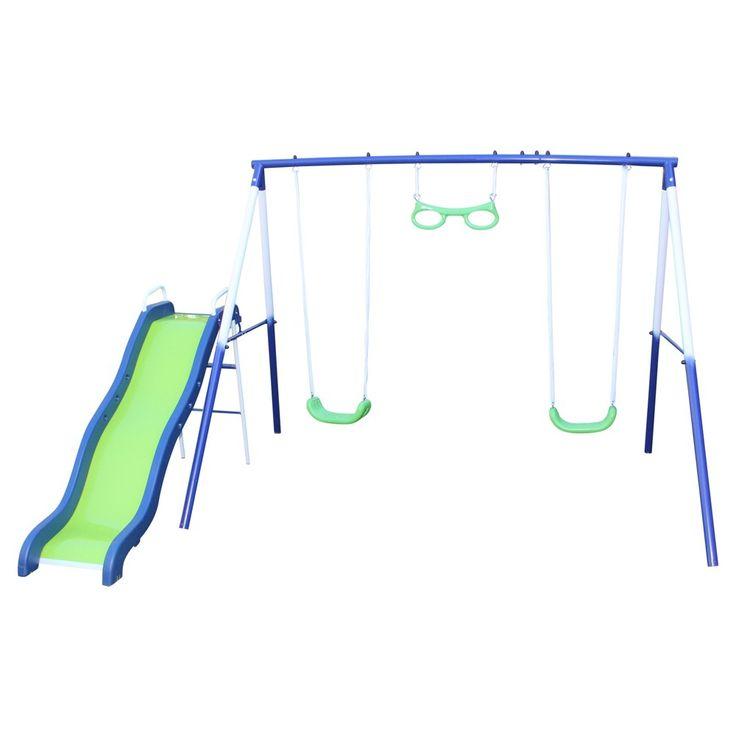 Sportspower Sierra Vista Metal Swing and Slide Set - Blue/Green,