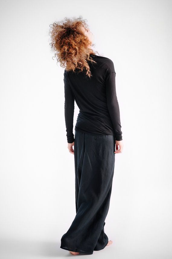 Hey, I found this really awesome Etsy listing at https://www.etsy.com/listing/240960962/black-linen-pants-extravagant-drop