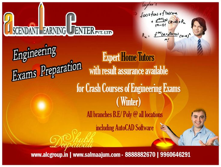 #ALCGroup Expert #HomeTutors with result assurance available for Crash Courses of Engineering Exams ( Winter) All branches B.E/ Poly @ all locations Subjects: all of every branch including AutoCAD Software Call us and we'll help you deck your scoreboard. Contact:8888882670/ 9960646291