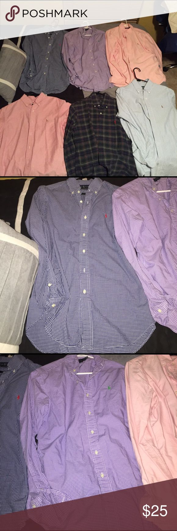 Polo by Ralph Lauren dress shirts **Price Negotiable** Price will be lowered if more than one is purchased at the same time. All have 0 flaws! no tears, rips or holes. All have 0 buttons missing. Perfect condition Polo dress shirts. Comment one you want and I will create a separate listing for you to purchase. Polo by Ralph Lauren Shirts Polos