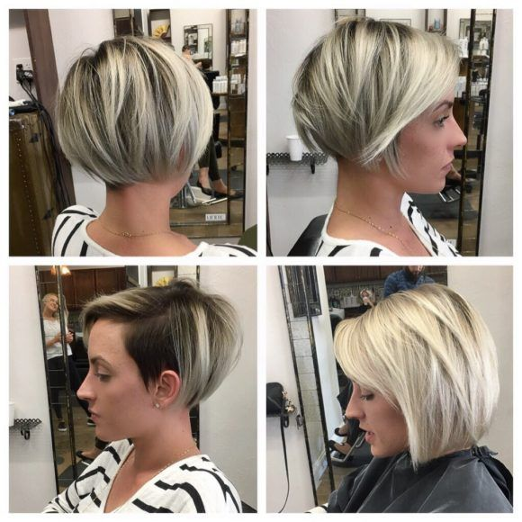 Sleek Undercut Pixie Bob With Blonde Balayage Blonde Balayage Bob Short Brunette Hair Balayage Hair