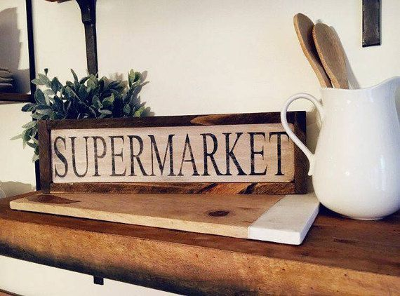 Check out this item in my Etsy shop https://www.etsy.com/ca/listing/486138348/supermarket-kitchen-wood-sign-framed