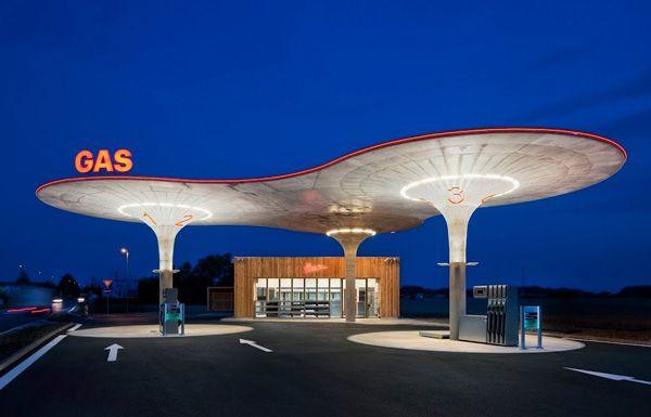 gas station in Matuskovo, Slovakia, by Atelier SAD architects