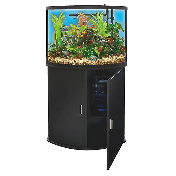 Top Fin Bowfront Aquarium Stand Ensemble 36 Gallon Fish Aquariums Petsmart Fish Tank Supplies Aquarium Stand Aquarium