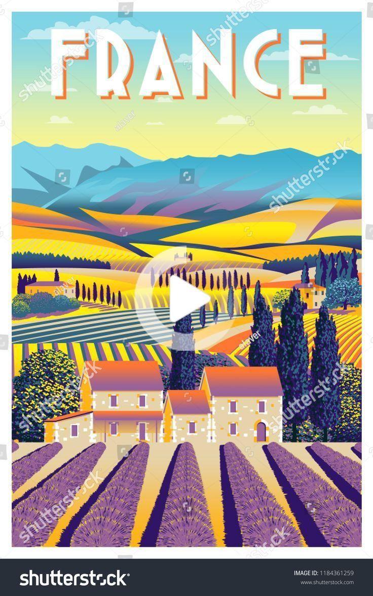 Landscape Vintage Poster In 2020 Vintage Posters Summer Landscape Poster Vintage Retro