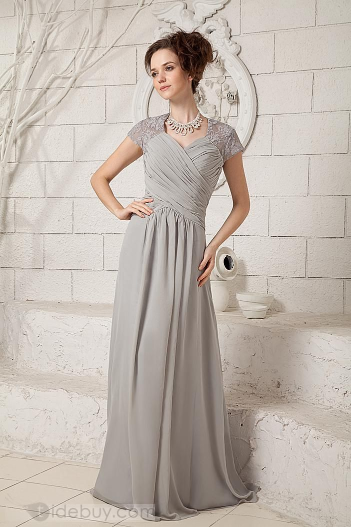 Clical Grey Column V Neck Prom Dress Chiffon Lace Floor Length