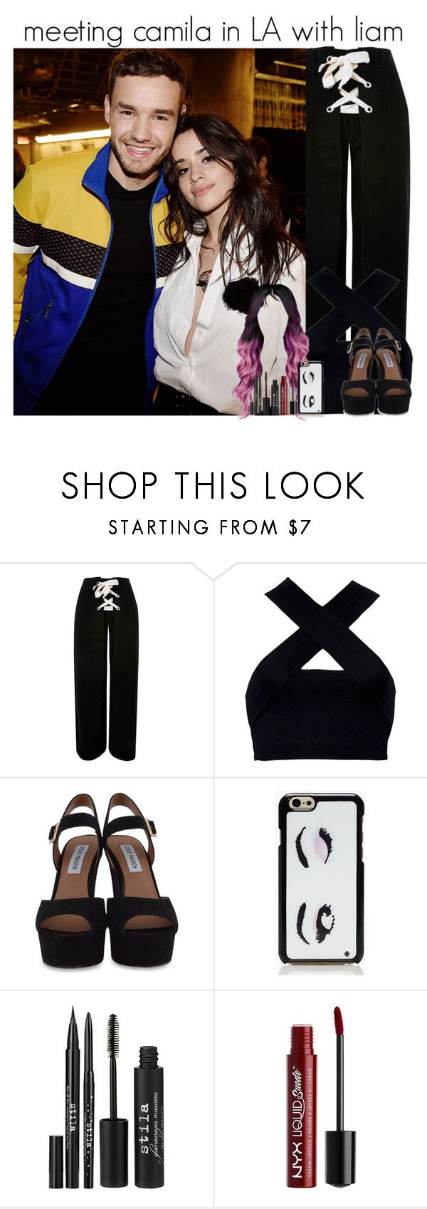 """""""meeting camila in LA with liam"""" by onlymyniallhoran ❤ liked on Polyvore featuring Topshop, Motel, Steve Madden, Kate Spade, Stila and Charlotte Russe"""