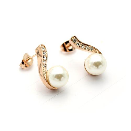 Charming Drop Ivory Freshwater Pearl Post Back Earrings