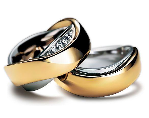 金属の質感や宝石の輝きまでリアルな結婚指輪のベクターイラスト